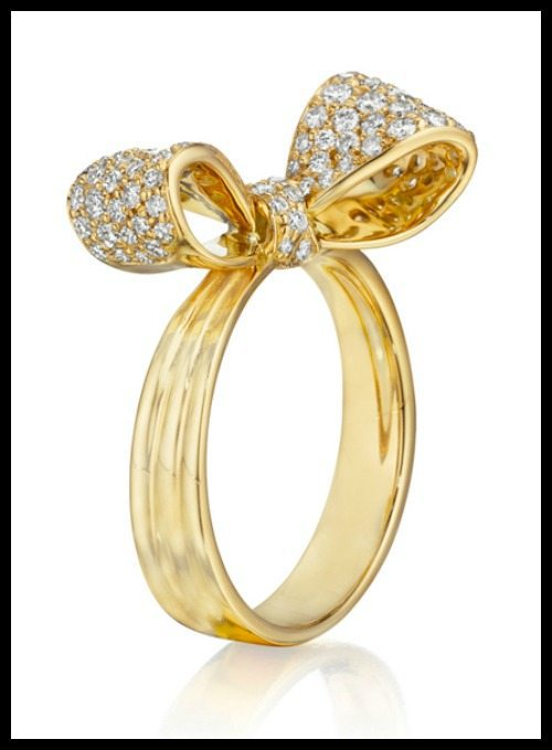 Array - mimi so petite bow ring in 18k yellow gold with diamonds      rh   ahfisher com